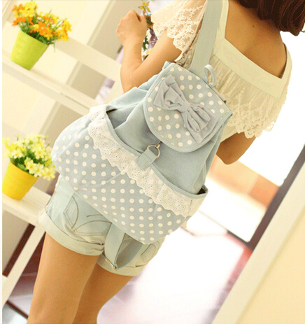 Pretty Backpack with Bow and Lace, Backpack for School