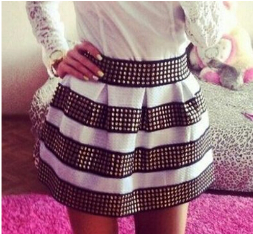 Cool White and Black with Rivet, Rivet Skirt, Women Skirts, Skirts, Skirt