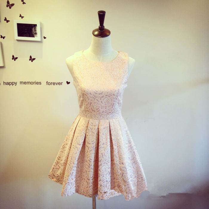 7c8d7ee5d1 Pretty Light Pink-Champagne Flower Pattern Short Party Dresses ...