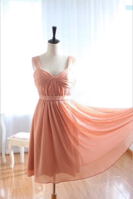 Custom Handmade Peach Pink Short Prom Dresses Bridesmaid Formal Party
