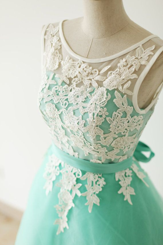Pretty Handmade Turquoise Tulle Short Prom Dress With White Applique ...