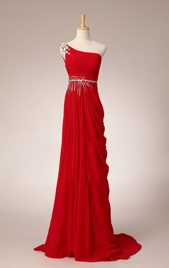 Pretty Elegant Red One-Shoulder Prom Dress With Beadings, Simple Red ...
