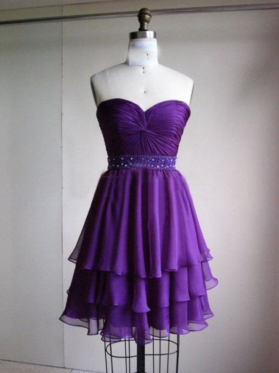 Cute Chiffon Three Layer Purple Prom Dress Short Prom Dress