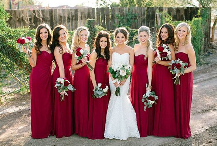 6e703eb8e4a Pretty Wine Red Simple Bridesmaid Dresses 2015