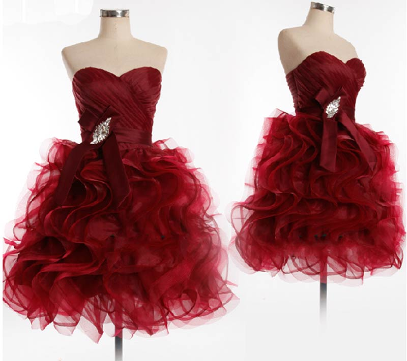 Cute Burgundy Organza Short Ball Gown Prom Dresses 30ae99dd8