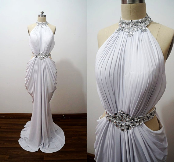 Sexy White Chiffon Halter Neckline with Beadings Prom Gowns, Prom Gown 2016, Sexy Prom Dresses, Evening Gowns