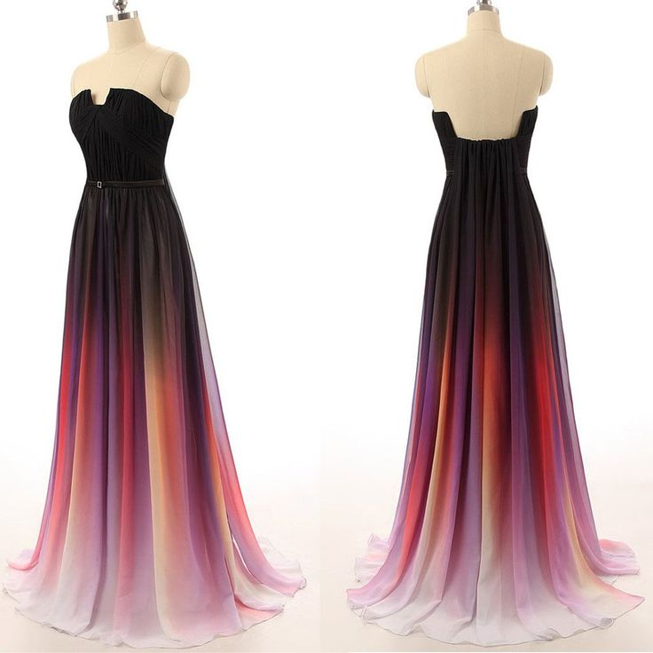 Pretty Chiffon Gradient Prom Dress, Gradient Prom Dresses, Prom ...