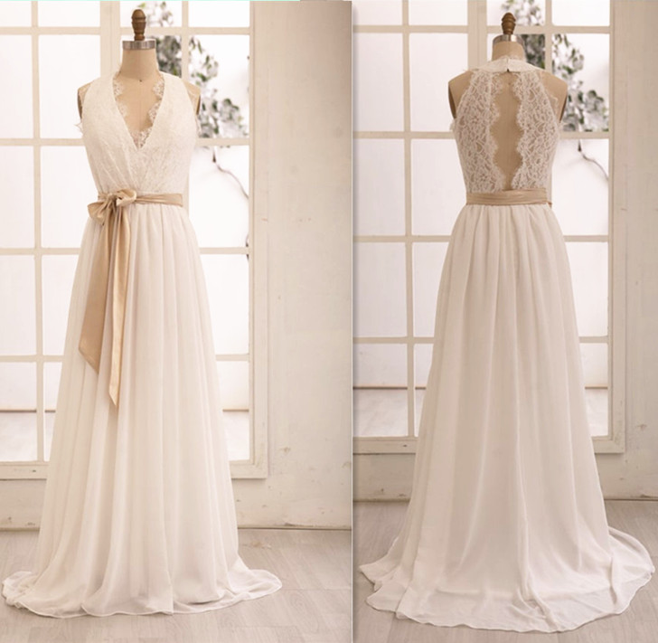 Gorgeous V Neckline Chiffon And Lace White Prom Gowns Handmade Wedding Dresses Evening 2016