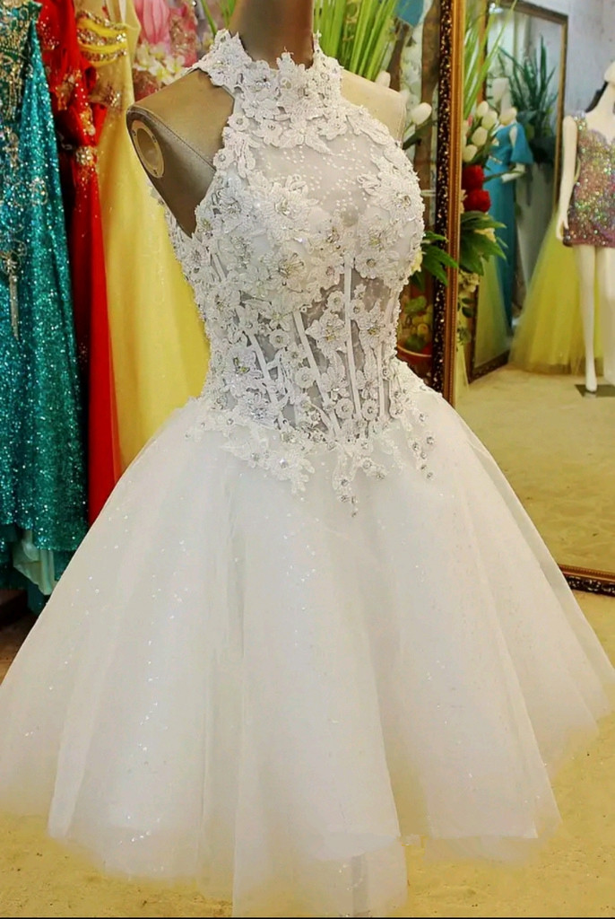 Adroable White Short Ball Gown Applique Halter Prom Dresses 2016 ...