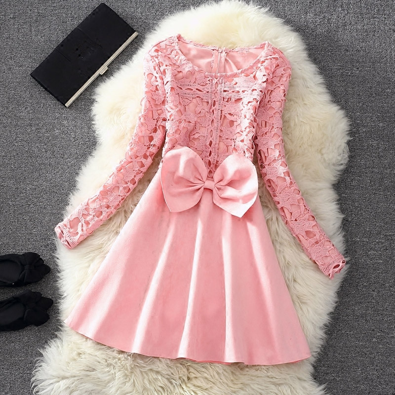 cute lace long sleeve winter formal dresses with bow