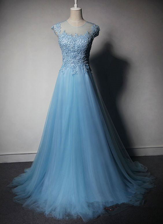 Pretty Light Blue Tulle Long Prom Dress 2016 With Lace