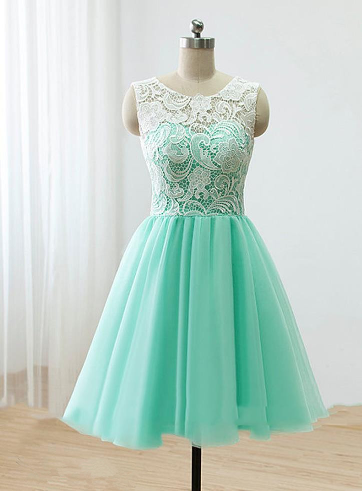 Love Handmade Short Mint Tulle Prom Dress With Lace, Homecoming ...