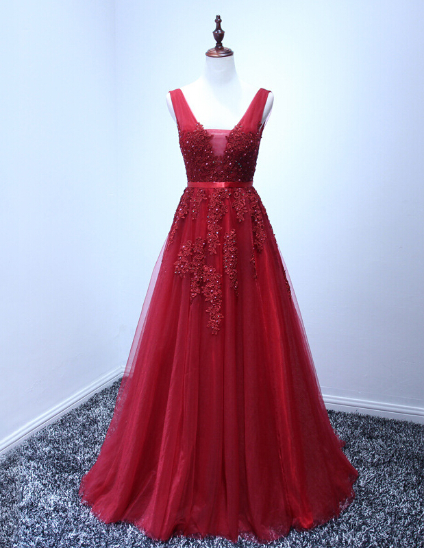 Charming Burgundy Tulle Long Prom Dress With Lace Applique 0130e2aeb
