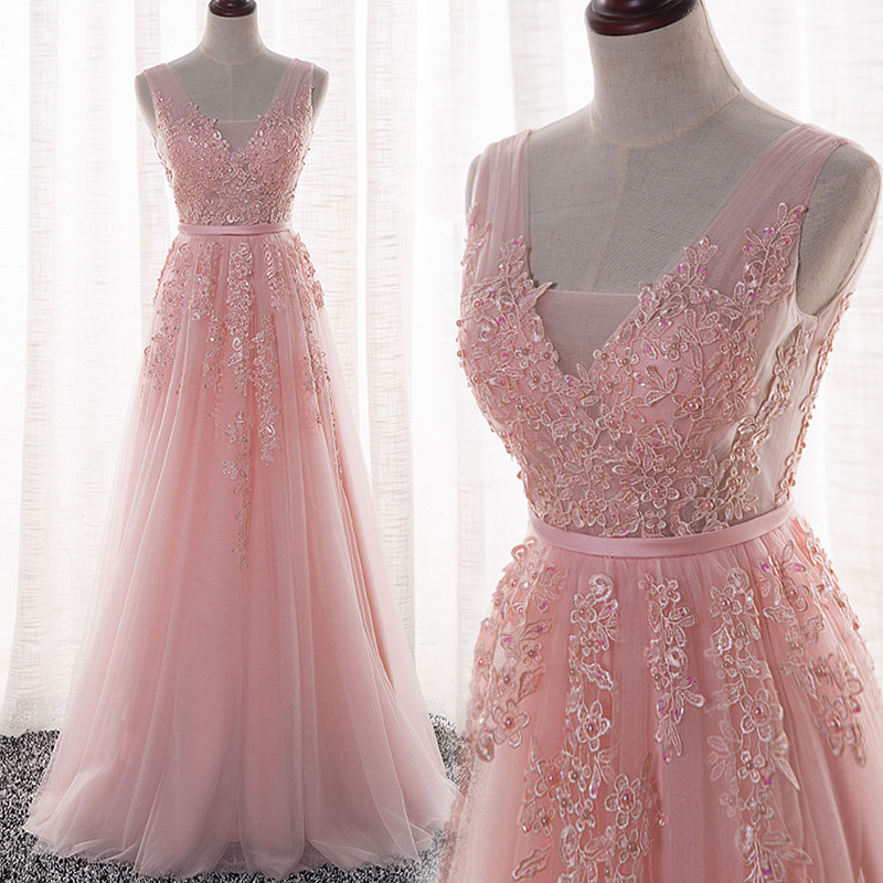668da80669 Elegant Tulle Handmade Pink V-neckline A-line Prom Dress with Lace Appliques ,