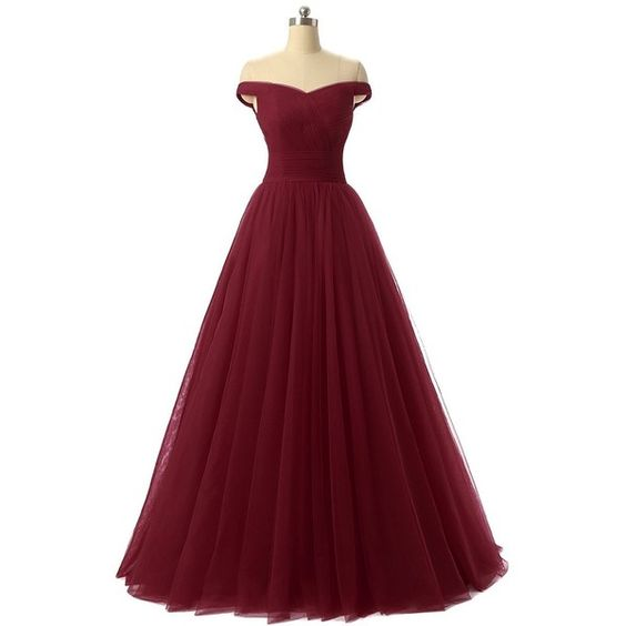 Charming Burgundy Maroon Tulle Ball Gown Prom Dress 2017, Off ...