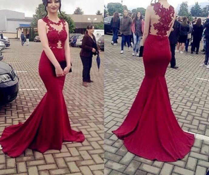 55259a486574 Beautiful Mermaid Burgundy Prom Dress, Lace Applique Evening Gown, Sexy  Style Wine Red Party Dresses
