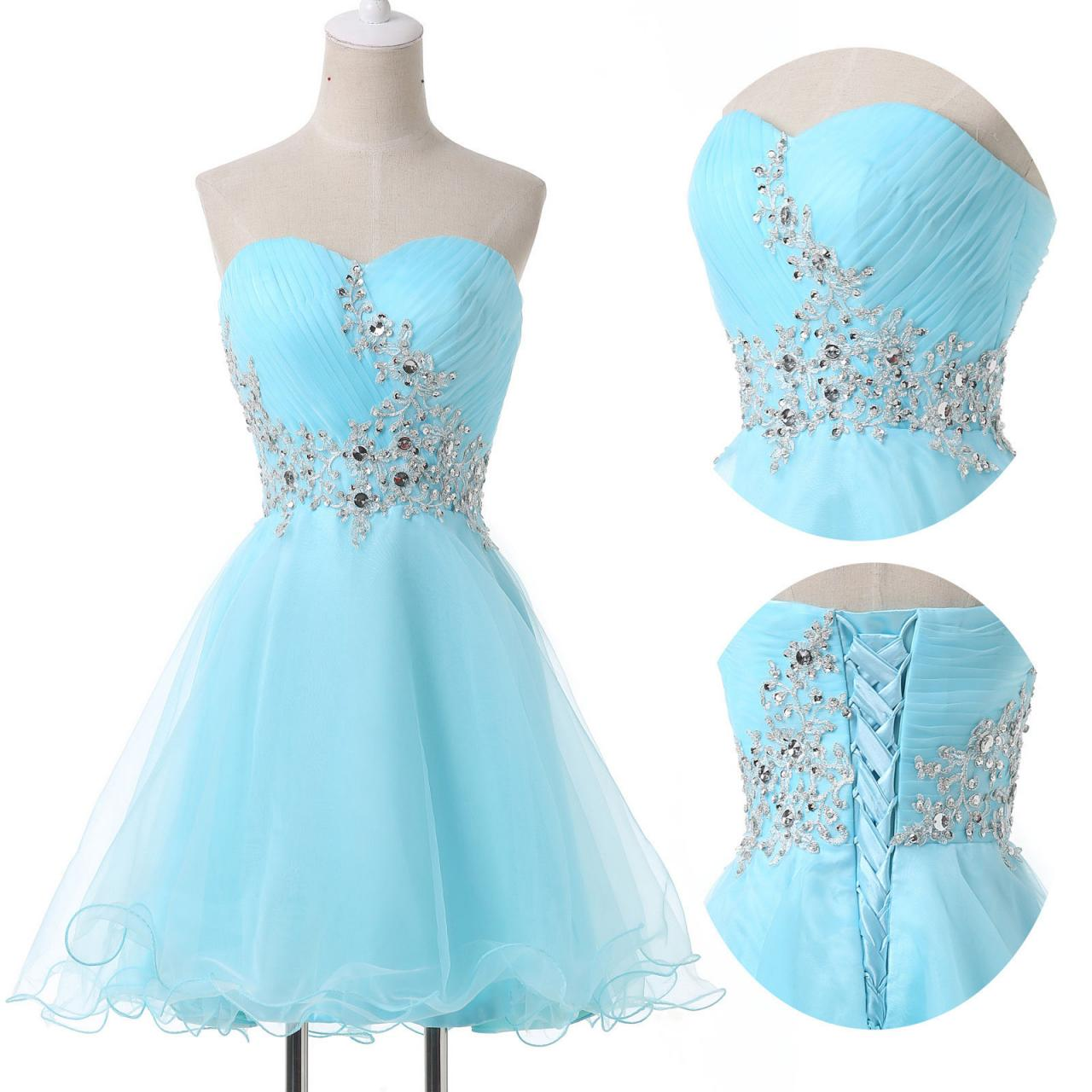 Tulle Light Blue Knee Length Sweetheart Prom Dresses, Short Blue ...