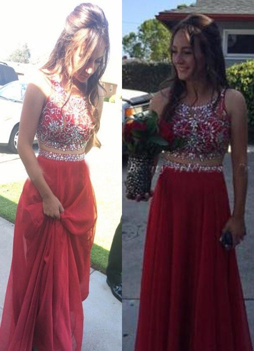 a8870df3c0 Stylish Red Chiffon Beaded Long Party Dresses