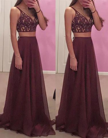 Maroon Chiffon Two Pieces Lace Long Prom Dresstwo Piece Formal