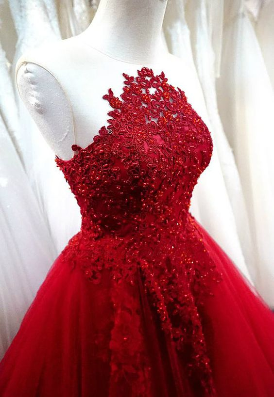 Beautiful Red Tulle Ball Gown Lace Applique And Beaded Long Prom ...