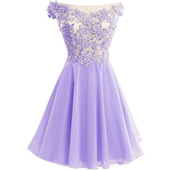 891bb77e2414 Cute Lavender Lace And Chiffon Short Party Dresses