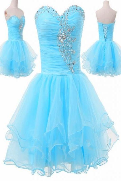 Adorable Sweetheart Beaded Short Light Blue Homecoming Dresses, Cute Prom Dresses, Light Blue Sweet 16 Dresses