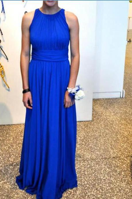 Simple Chiffon Royal Blue Round Floor Length Party Dresses, Royal Blue Bridesmaid Dresses, Simple Formal Gowns