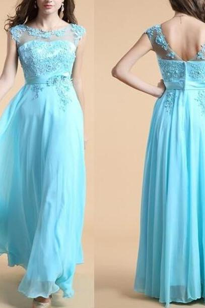 Elegant Chiffon Long Blue Party Gowns, Blue Prom Dresses, Evening Gowns 2017