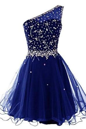 Lovely Dark Royal Blue One-Shoulder A-line Homecoming Dress, Short Prom Dresses, Cute Tulle Formal Dresses
