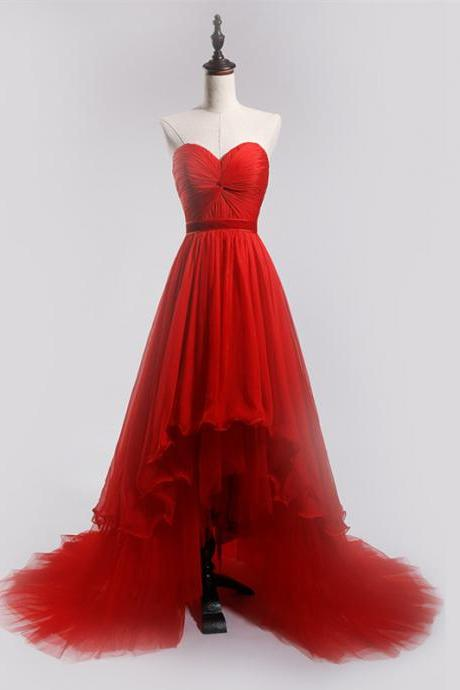 Red Strapless Sweetheart Ruched High-Low Tulle Prom Dress, Evening Dress Featuring Lace-Up Back