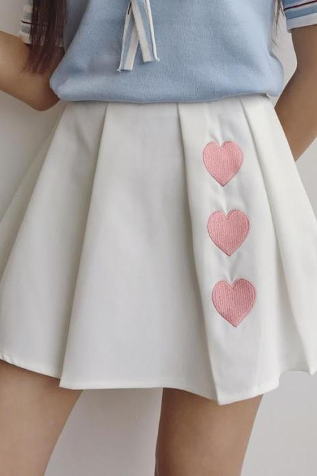 Lovely Triple Heart Tennis skirt, Summer Short Skirts, Teen Skirts