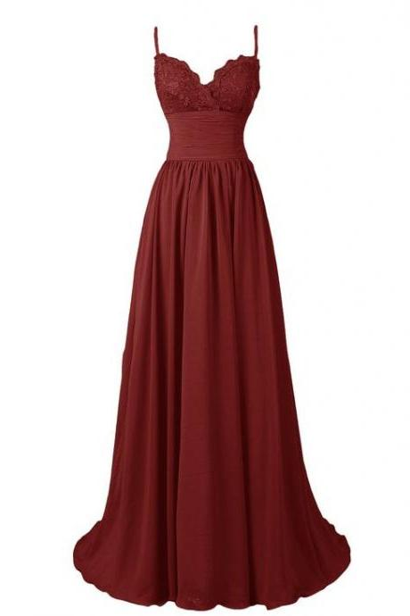 Elegant Wine Red Straps Long Party Dresses, Women Formal Dresses, Burgundy Party Dresses