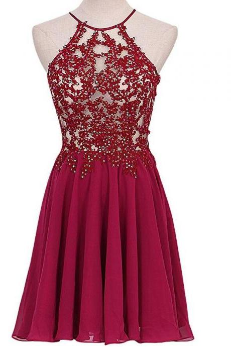 Lovely Short Wine Red Lace Applique and Chiffon Party Dresses, Burgundy Homecoming Dresses, Short Homecoming Dresses 2017
