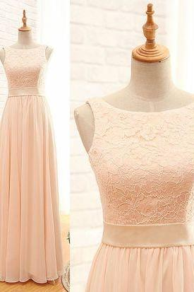 Light Pink Chiffon Bridesmaid Dresses, Bridesmaid Dresses 2017, Long Bridesmaid Dresses