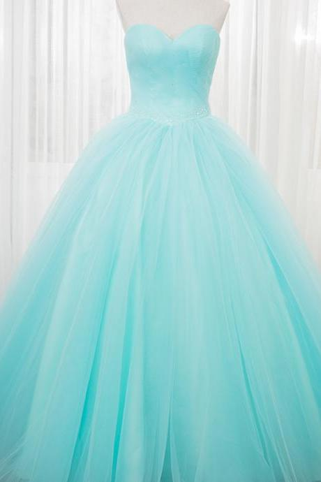 Gorgeous Handmade Light Blue Ball Gown Sweetheart Prom Gowns, Blue Formal Gowns, Evening Gowns