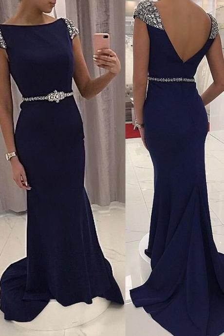 Charming Navy Long Beaded Prom Dress, Backless Party Gowns, Evening Dresses 2017