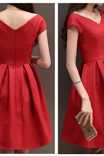 Lovely Red A-line V-neck Red Short Dresses, Summer Red Dresses, Short Women Dresses