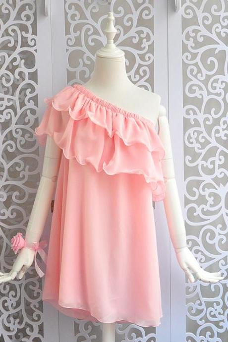 Loose Casual Women Dress, Mini Ruffled Summer Dresses, One Shoulder Teen Dresses