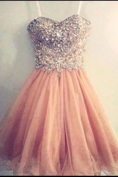 Gorgeous Straps Soft Pink Sweetheart Neck Short Prom Dresses, Homecoming Dresses 2017, Formal Dresses, Graduation Dresses