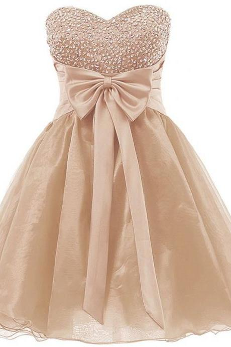 Lovely Organza Champagne Short Junior Prom Dresses, Sparkly Homecoming Dresses, Cute Formal Dresses