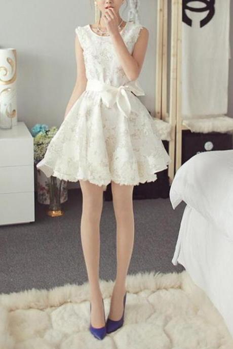 New Style Organza White Floral Lace Graduation Dresses, Cute Party Dresses, Homecoming Dresses