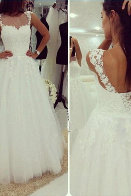 White Tulle Lace-Up Straps Wedding Dresses, Simple Wedding Gowns, Prom Dresses
