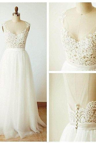 Lovely Lace and Tulle A-line Simple Wedding Dresses, White Prom Dresses, Beautiful Evening Gowns
