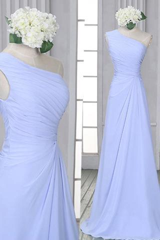 Chiffon One Shoulder Bridesmaid Dress with Ruched Bust, Popular Lavender Bridesmaid Dresses, Simple Bridesmaid Dresses
