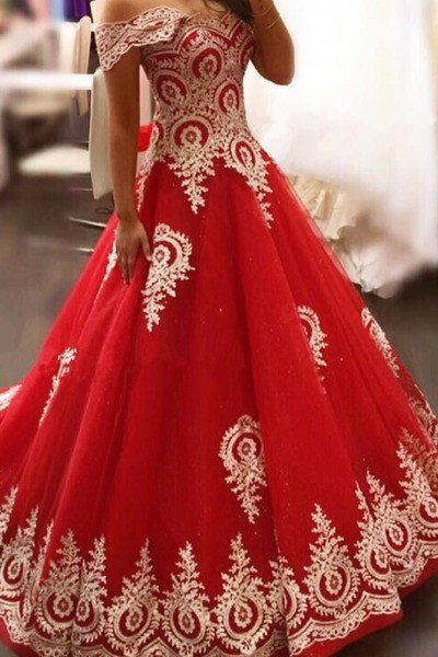 Gorgeous Red Prom Gowns, Off Shoulder Party Gowns, Ball Gowns for Sweet 16