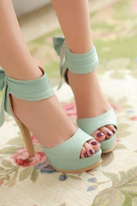 Adorable Teen High Heels with Bowknot, Lovely Women Shoes, Cute Summer High Heels