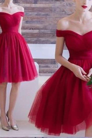 Burgundy Off Shoulder Homecoming Dresses, Dark Red Short Tulle Prom Dresses, Stylish Formal Dresses