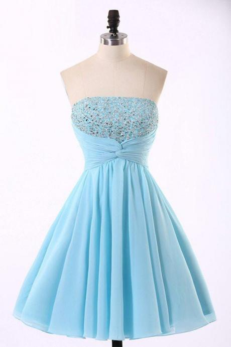 Light Blue Handmade Sequins Short Prom Dresses, Chiffon Homecoming Dresses, Cute Prom Dresses 2018