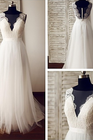 Beautiful White Tulle and Lace Wedding Dresses, A-line Long Wedding Gowns, Formal Gowns