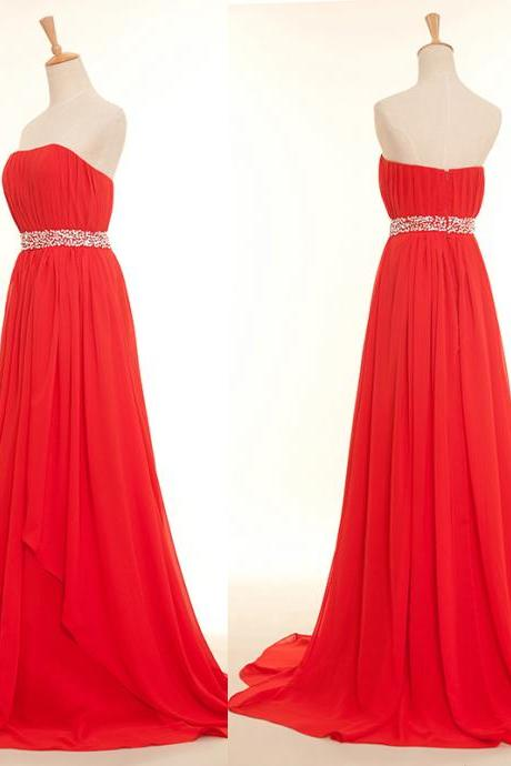 Sweet Red Long Sequins Prom Dresses 2018, Red Formal Gowns, Wedding Party Dresses
